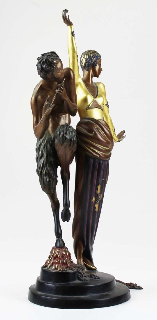 "Erte ""Woman & Satyr"" bronze sculpture - 5"