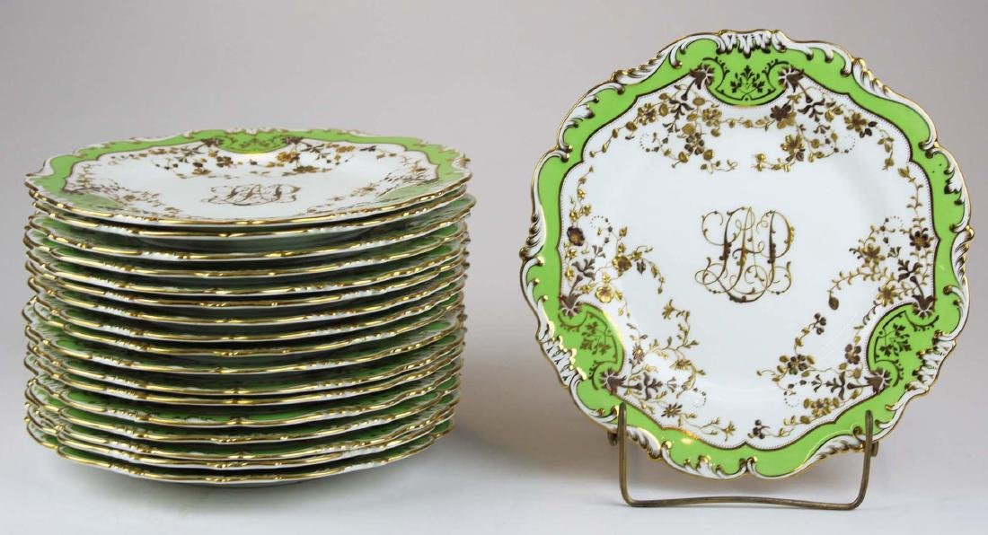 17  Cauldon England gilt porcelain dinner plates