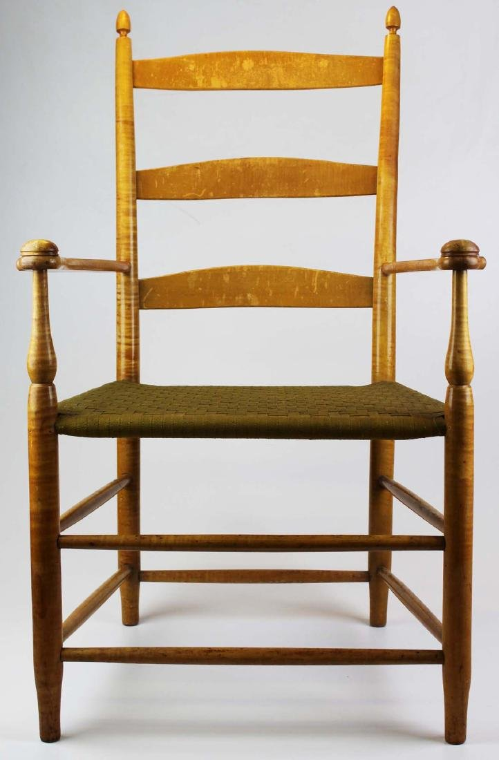 Shaker No. 5 curly maple ladder back arm chair