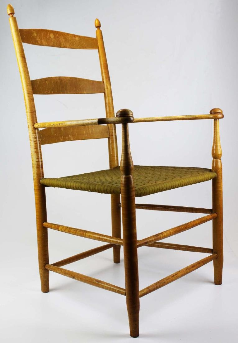 Shaker No. 5 curly maple ladder back arm chair - 2