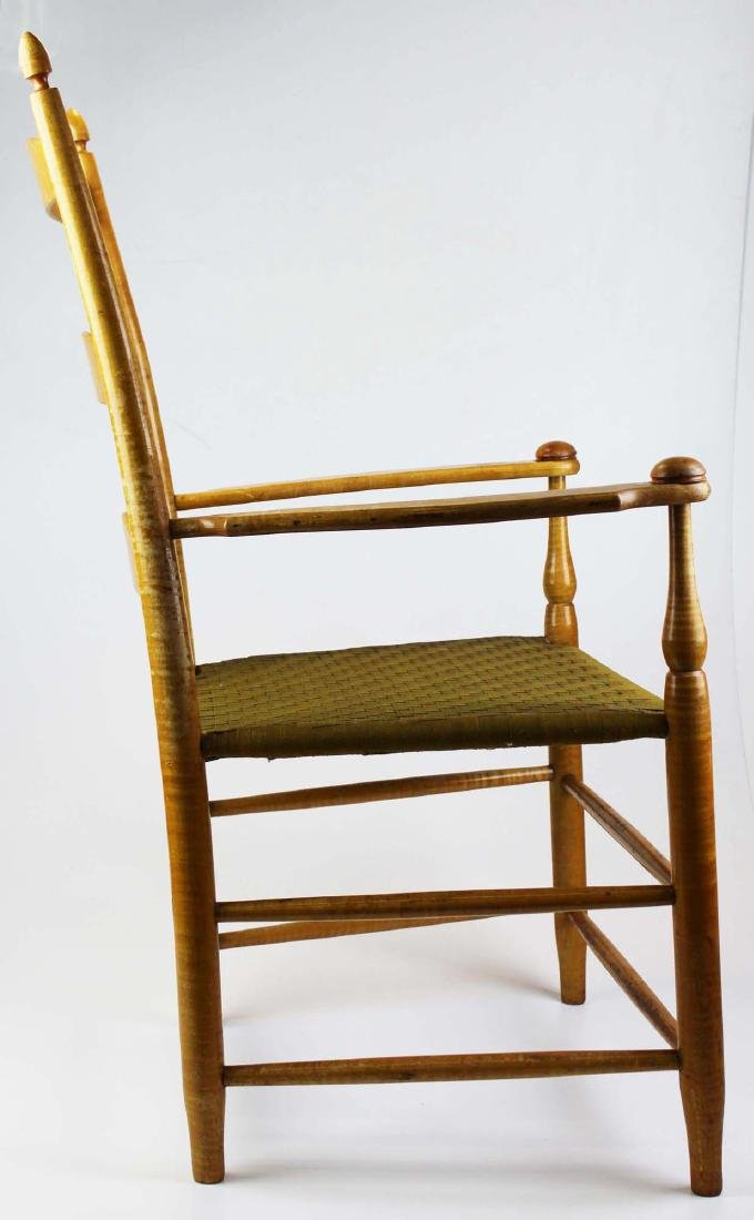 Shaker No. 5 curly maple ladder back arm chair - 3
