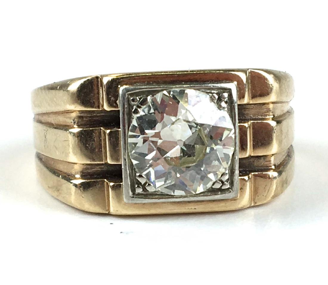 Men's 1.76 ct rd European cut diamond ring