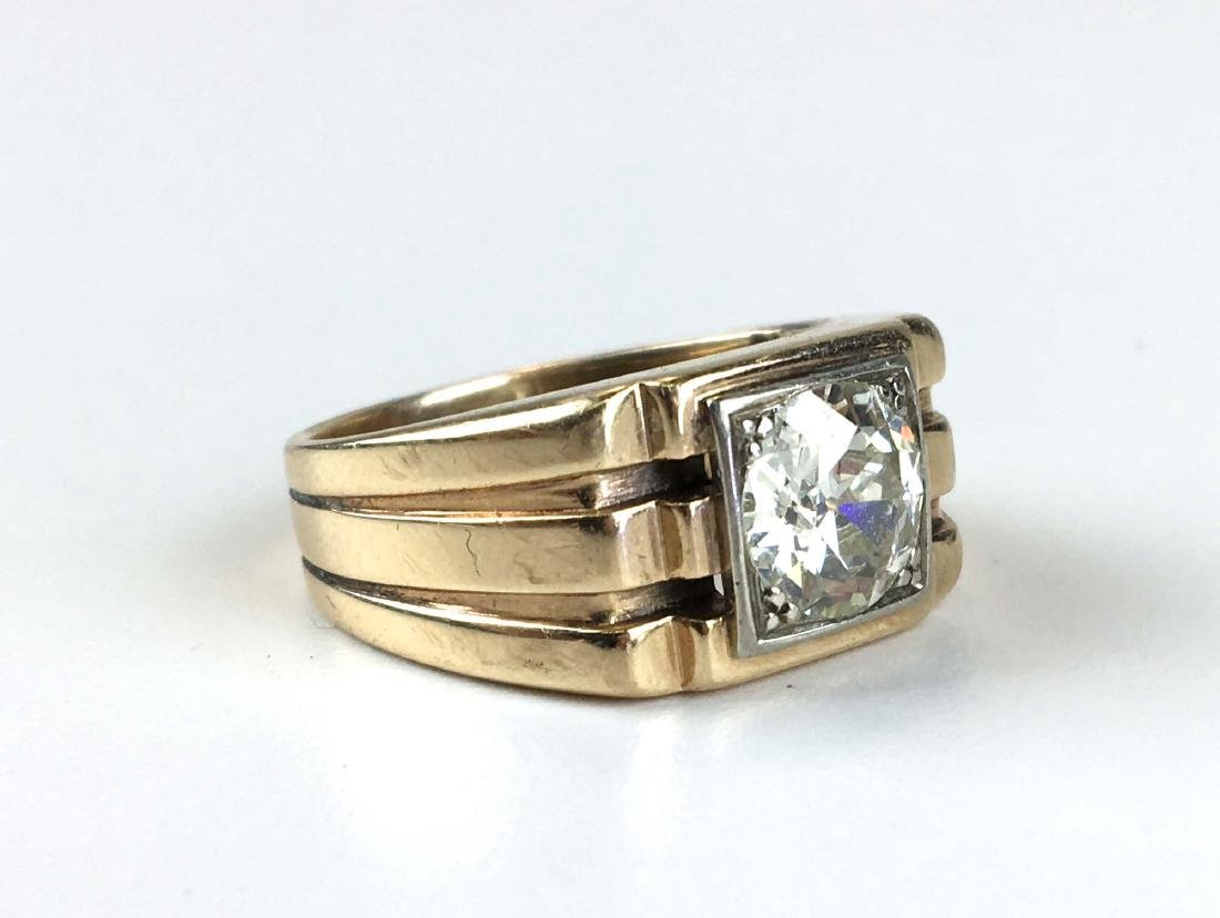Men's 1.76 ct rd European cut diamond ring - 2