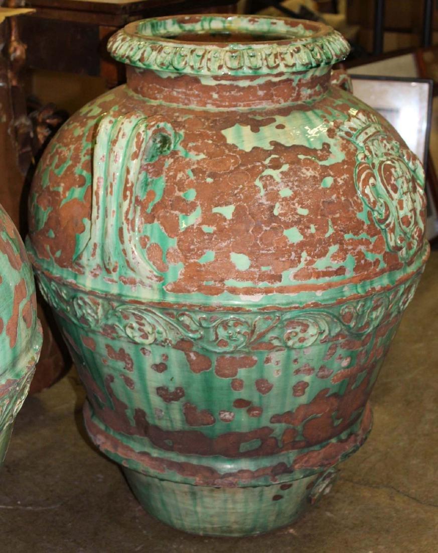 pair of monumental Italian majolica storage urns