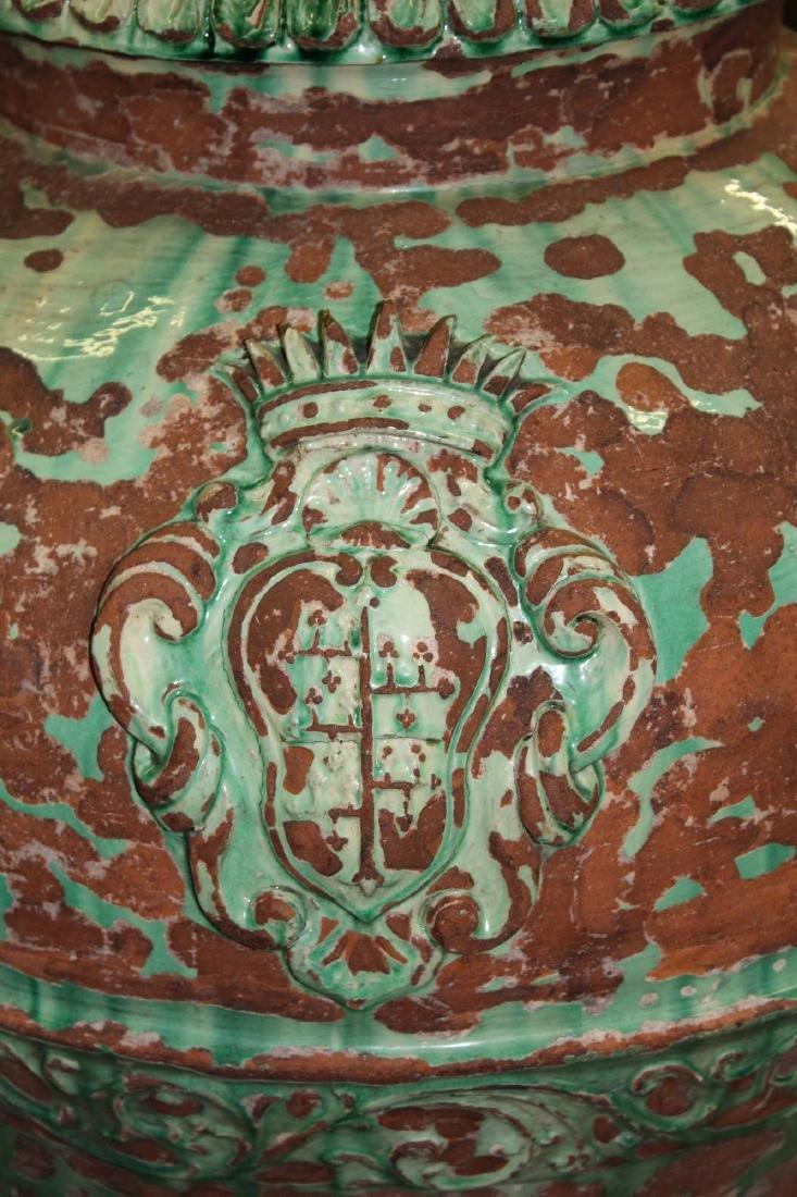 pair of monumental Italian majolica storage urns - 2