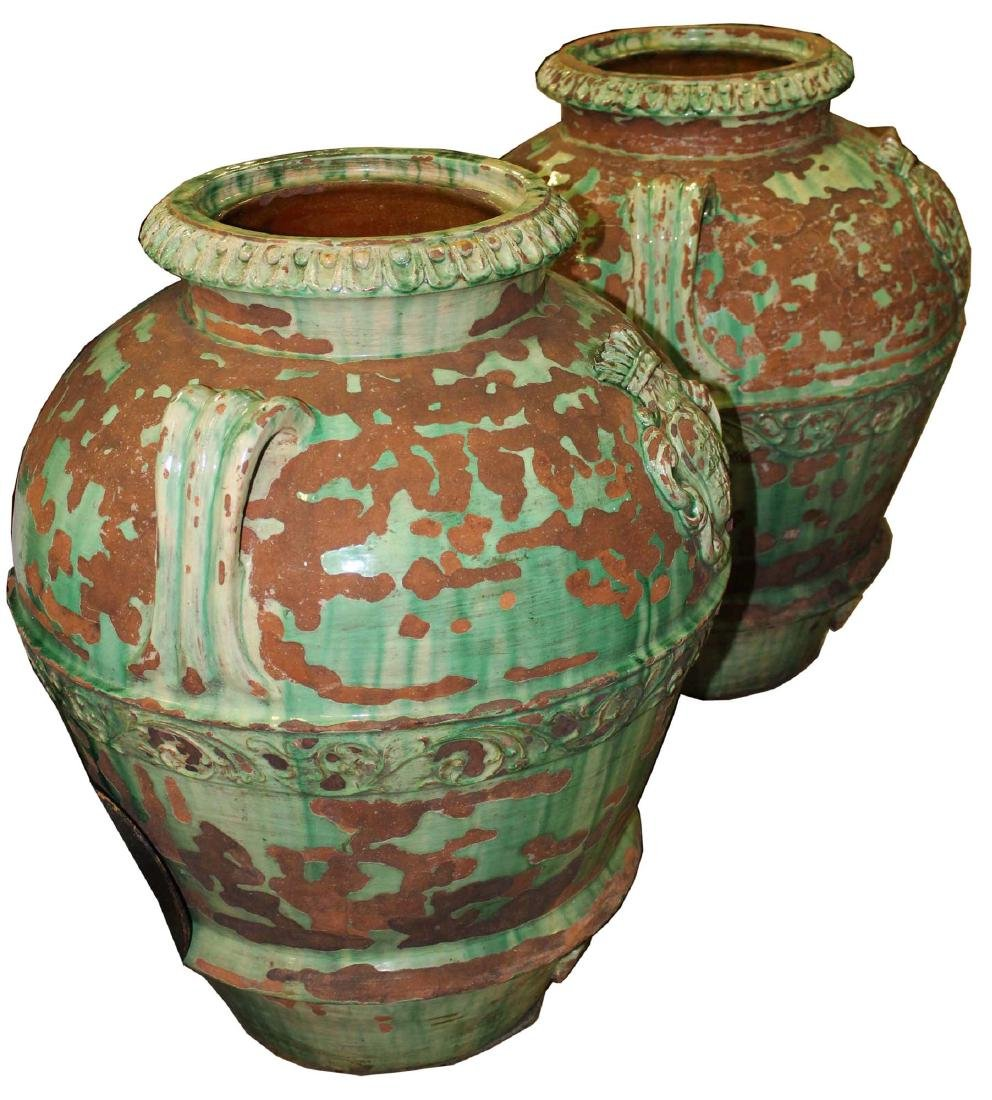 pair of monumental Italian majolica storage urns - 4