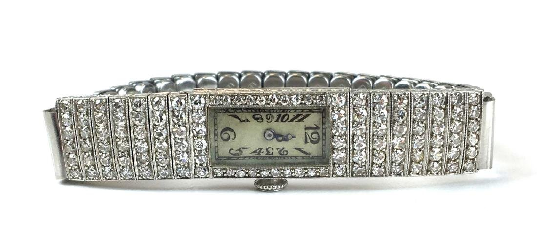 C H Meylan Swiss Art Deco platinum & diamond wrist