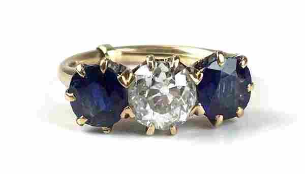 Ca 1900 3 stone diamond & Sapphire ladies ring
