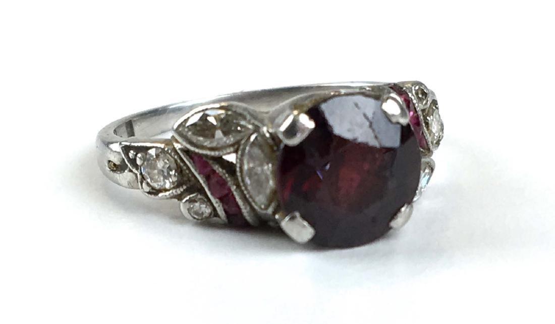 Ca 1915 Amethyst, diamond, ruby, platinum ladies ring