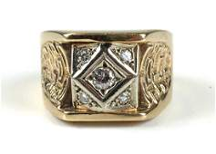 Mens yellow gold and diamond ring