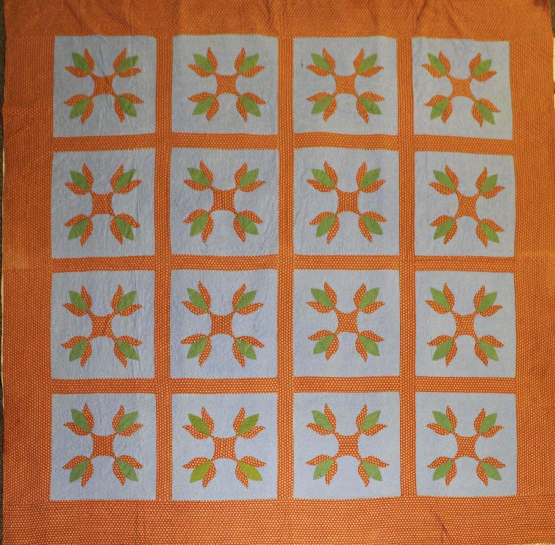 early 20th c PA tulip pattern applique quilt - 2