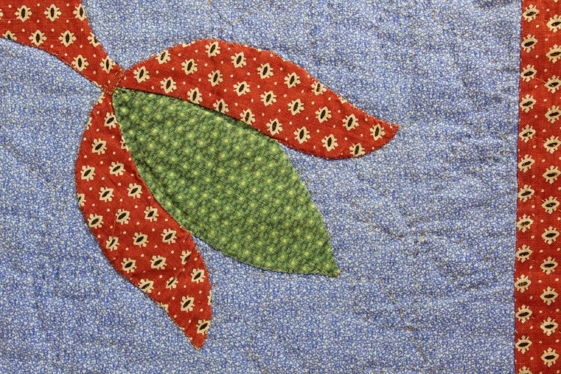early 20th c PA tulip pattern applique quilt - 7