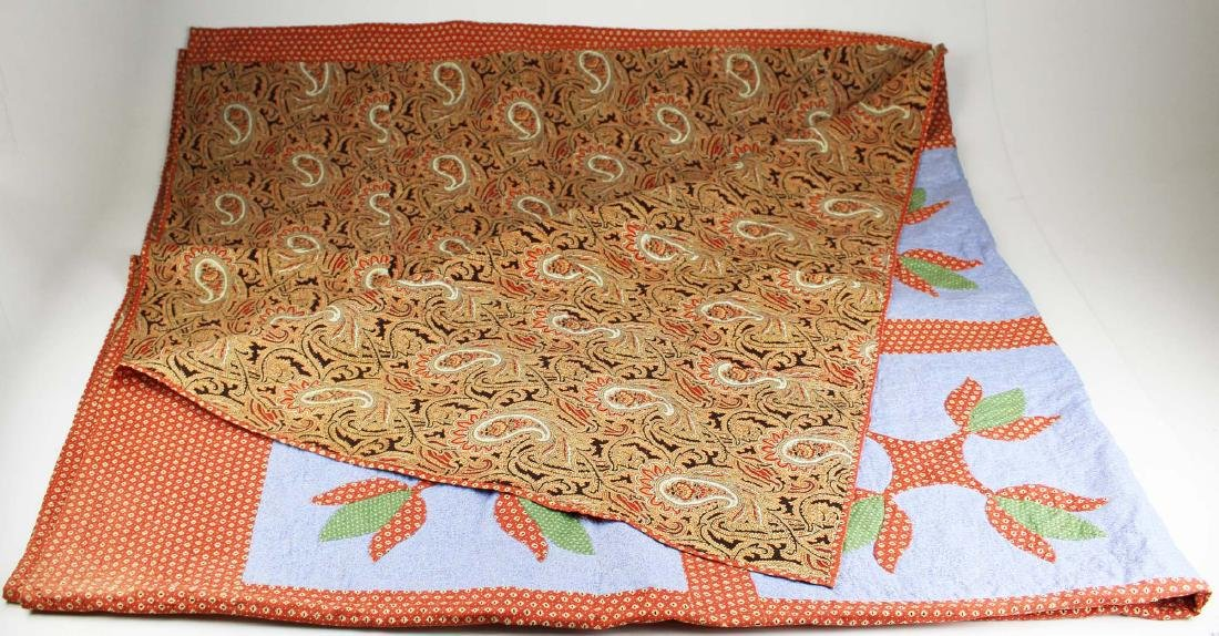 early 20th c PA tulip pattern applique quilt - 8