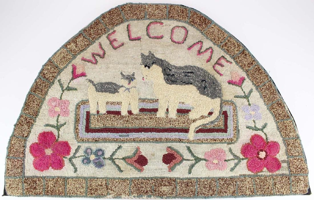 20th c folky hooked hearth rug