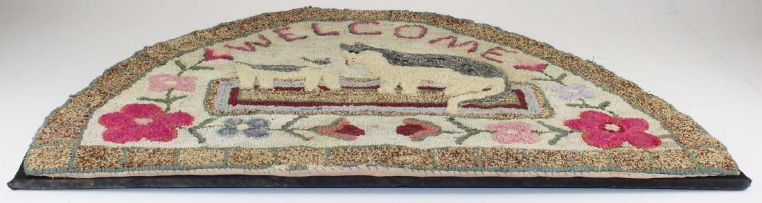 20th c folky hooked hearth rug - 4