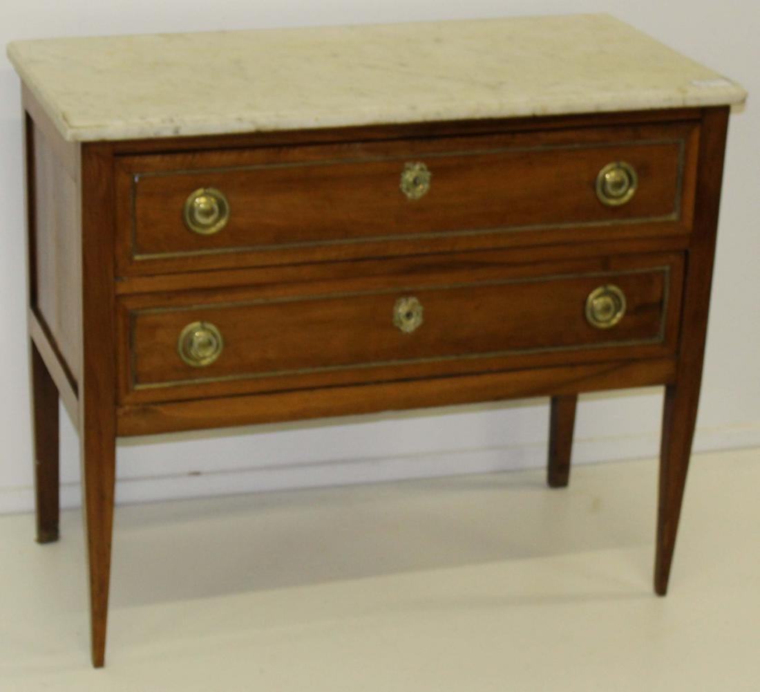 Late 18th c Louis XVI marble top commode