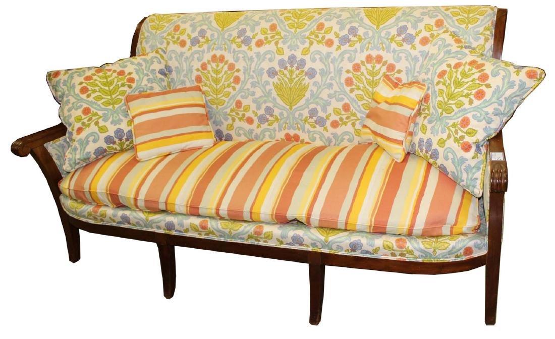 19th c Louis XVI floral upholstered sofa