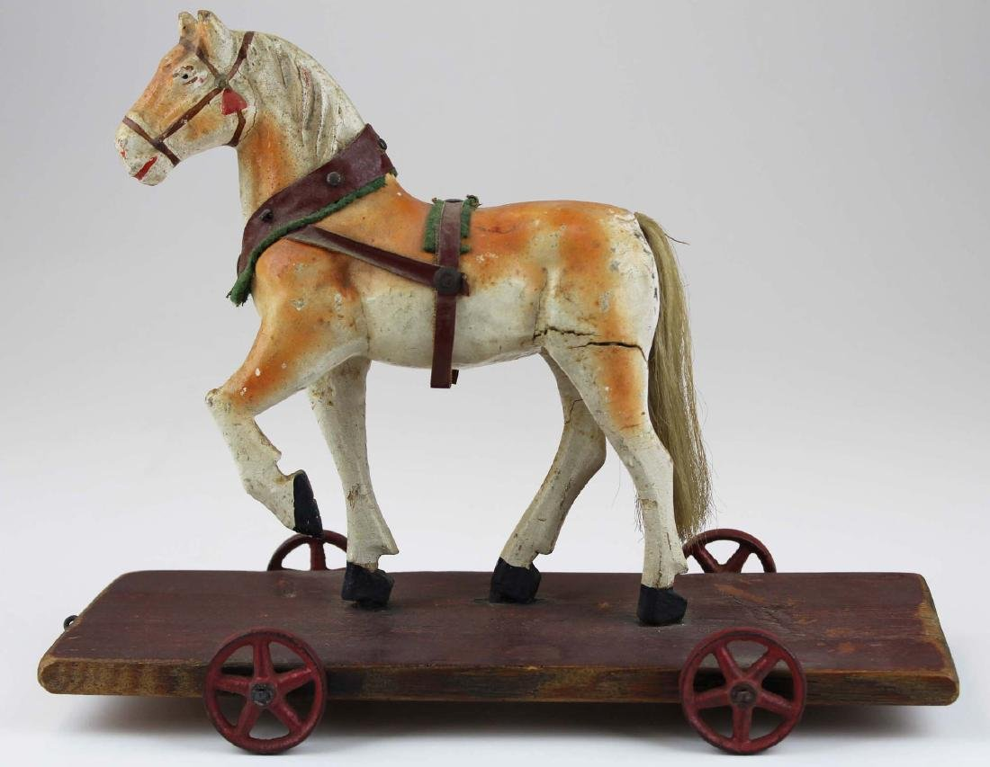late 19th c German paper mache horse pull toy