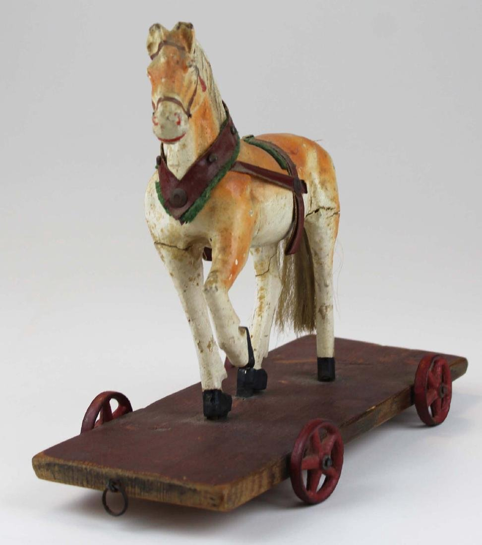 late 19th c German paper mache horse pull toy - 2