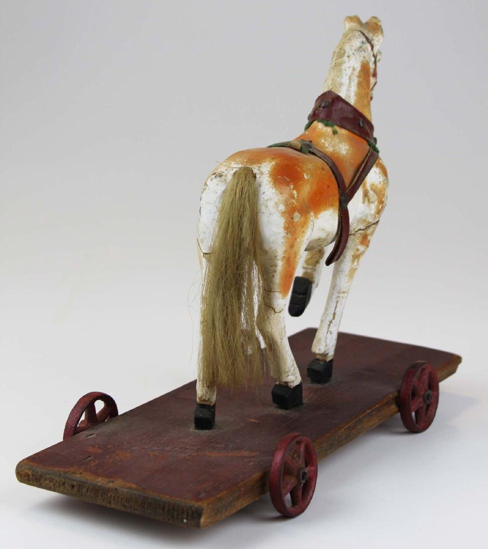 late 19th c German paper mache horse pull toy - 4