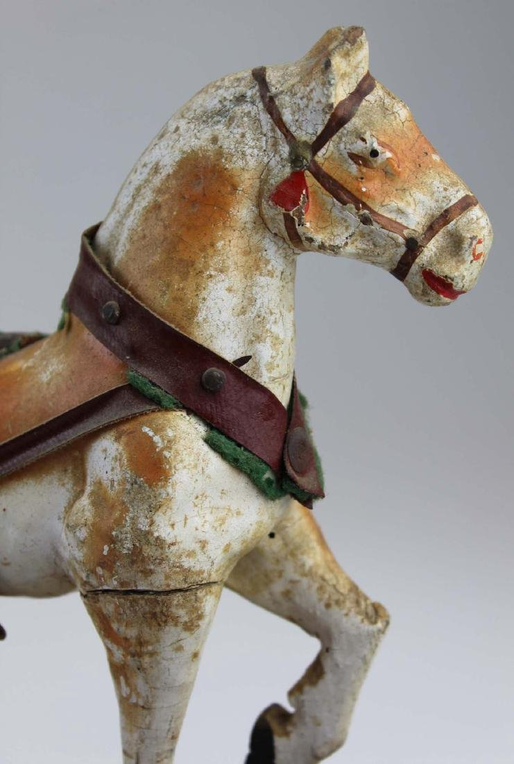 late 19th c German paper mache horse pull toy - 5