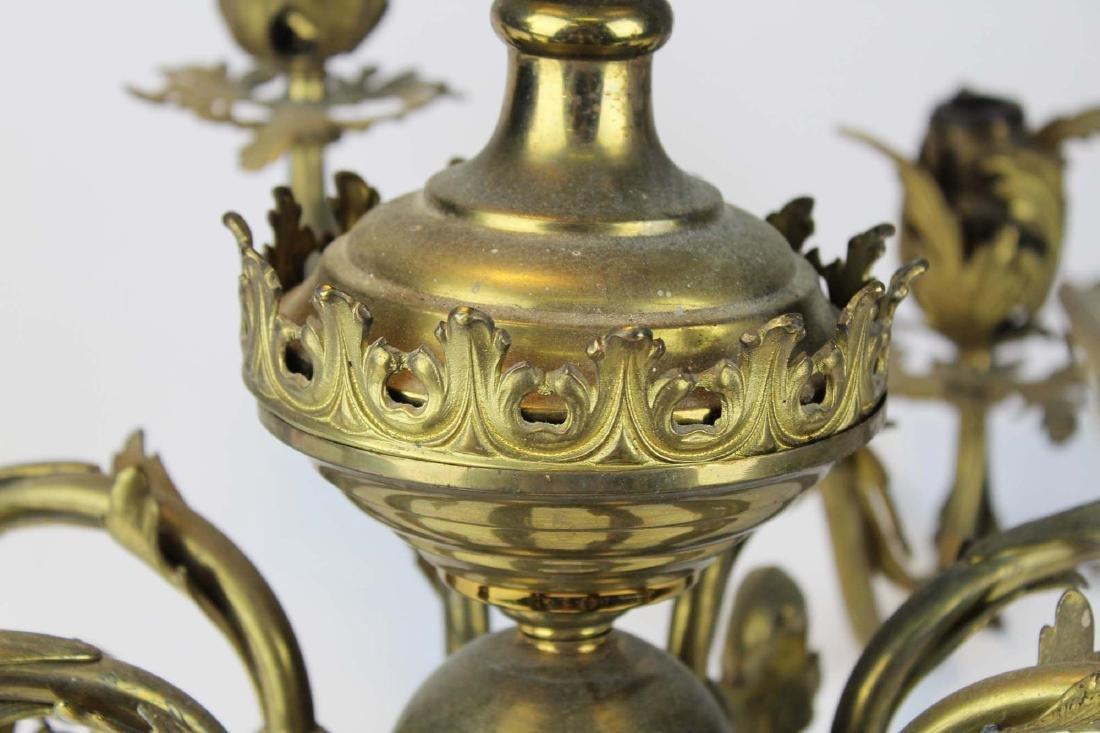 early 20th c brass eight light chandelier - 5