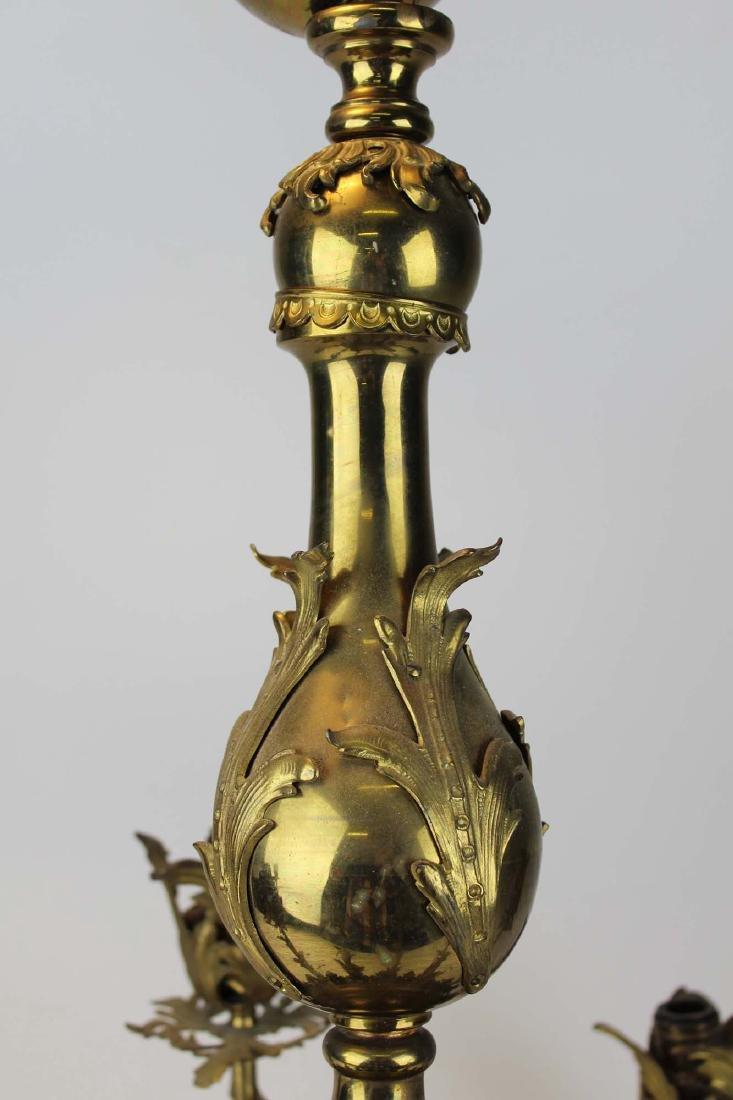 early 20th c brass eight light chandelier - 6
