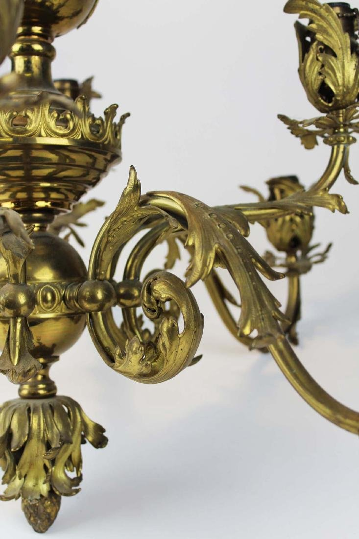 early 20th c brass eight light chandelier - 7