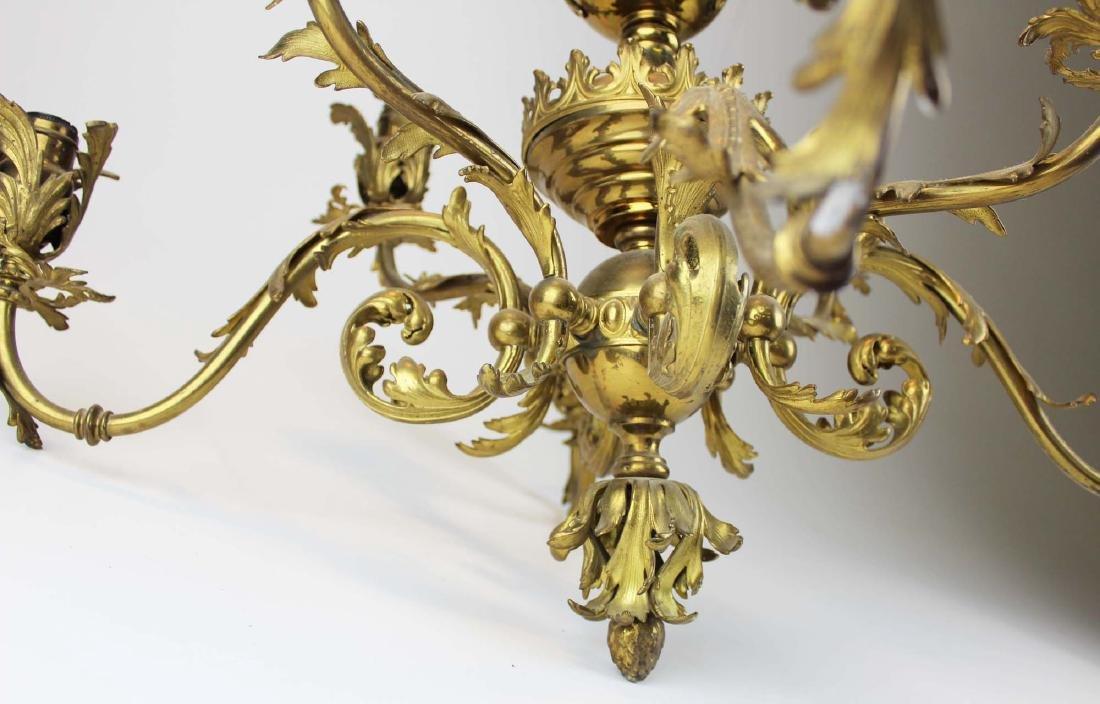 early 20th c brass eight light chandelier - 8