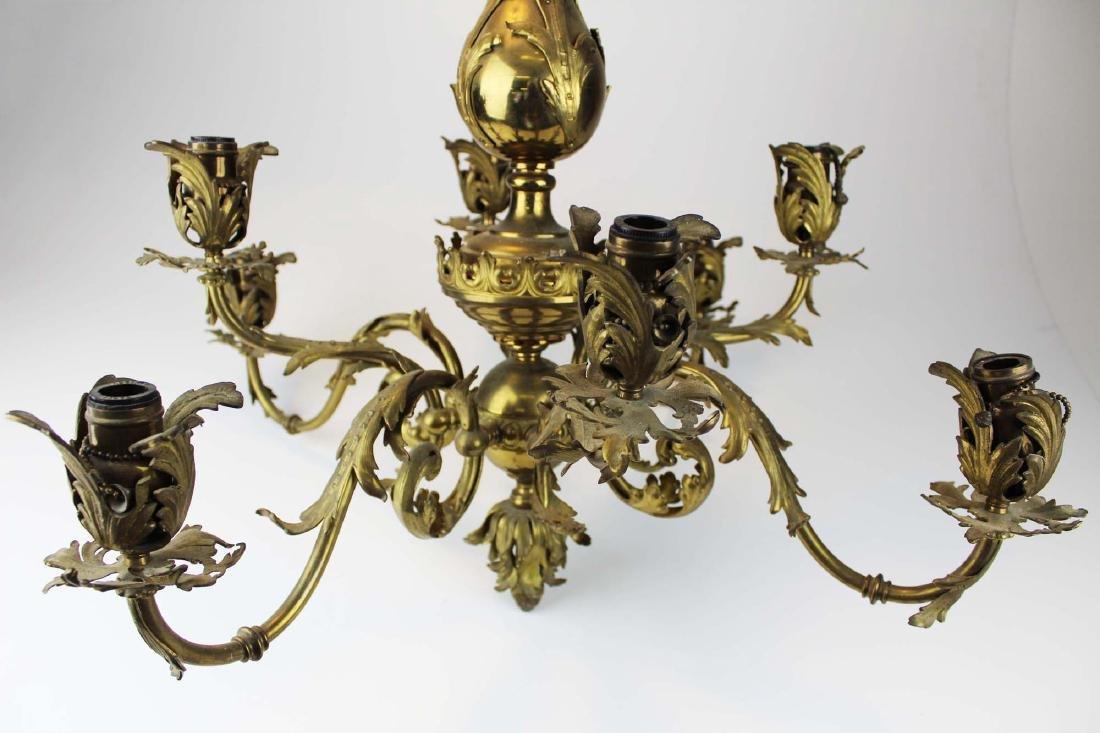 early 20th c brass eight light chandelier - 9