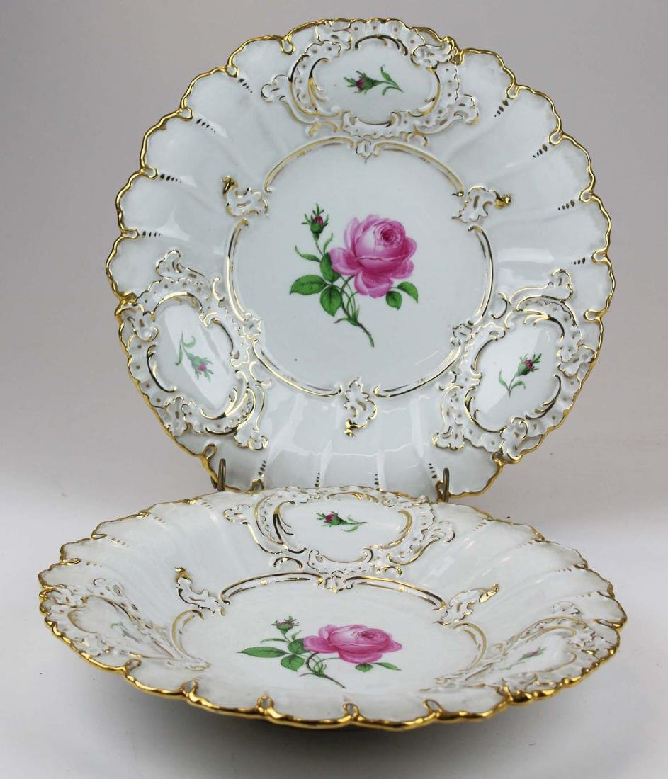 Pair of Meissen handpainted floral serving dishes