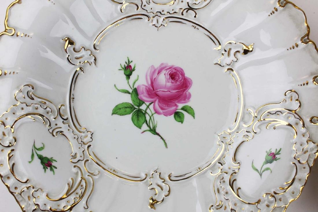 Pair of Meissen handpainted floral serving dishes - 3