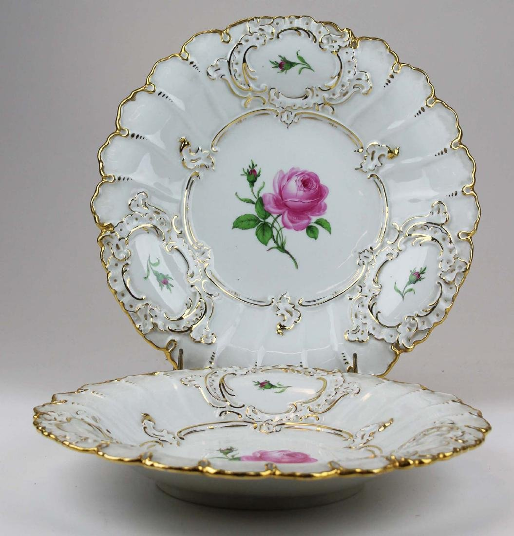 Pair of Meissen handpainted floral serving dishes - 5