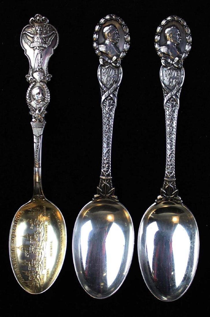 3 Admiral Dewey sterling spoons including Tiffany
