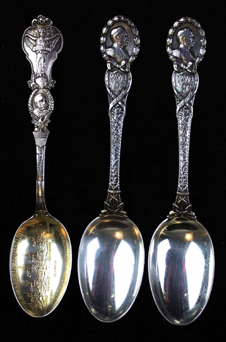 3 Admiral Dewey sterling spoons including Tiffany