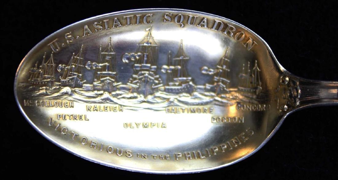 3 Admiral Dewey sterling spoons including Tiffany - 3