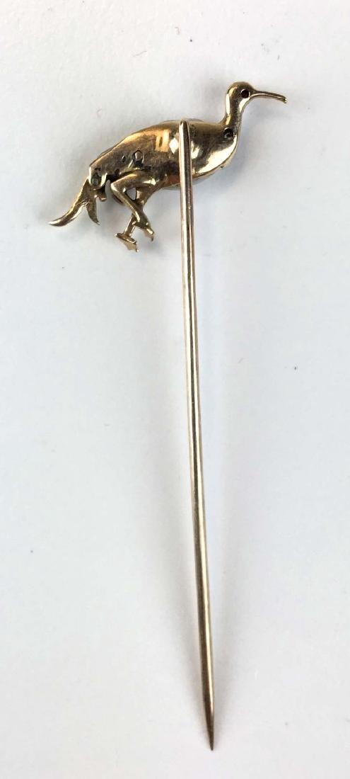 Yellow gold, silver, & freshwater pearl fowl stick pin - 3