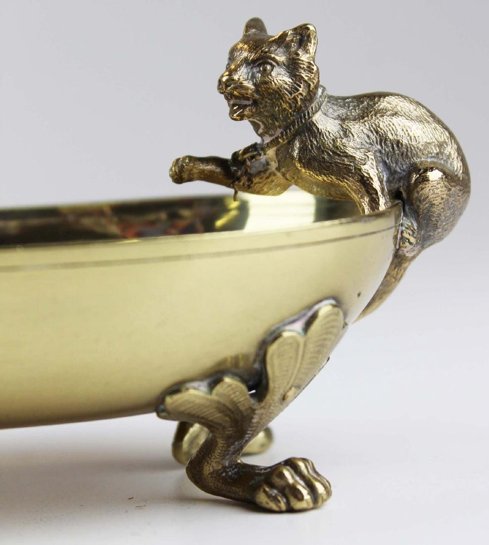 late 19th c Vienna bronze dish w/ cat & dog - 3