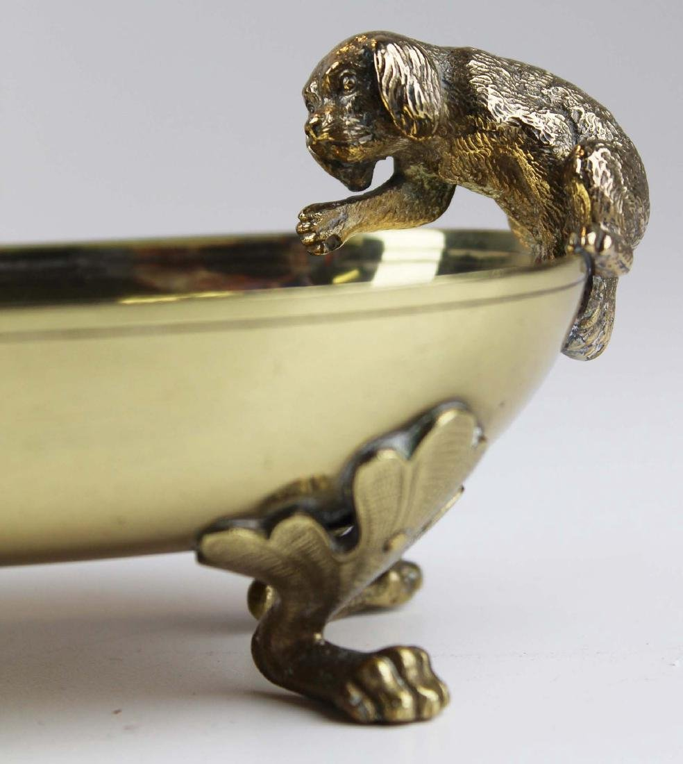 late 19th c Vienna bronze dish w/ cat & dog - 4
