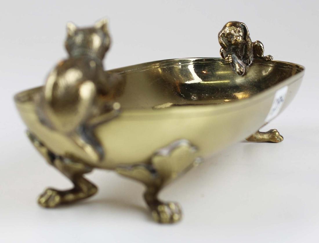 late 19th c Vienna bronze dish w/ cat & dog - 5