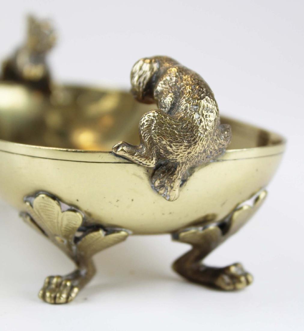 late 19th c Vienna bronze dish w/ cat & dog - 6