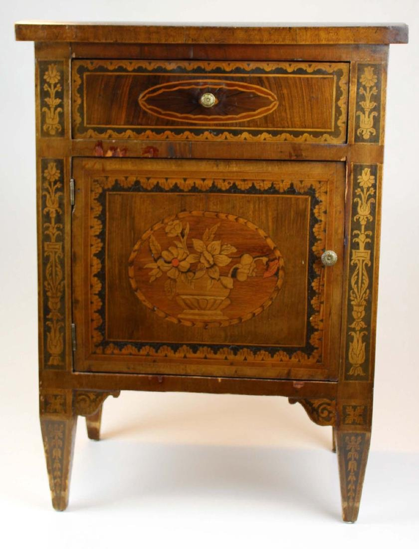 19th c Louis XVI floral marquetry half commode