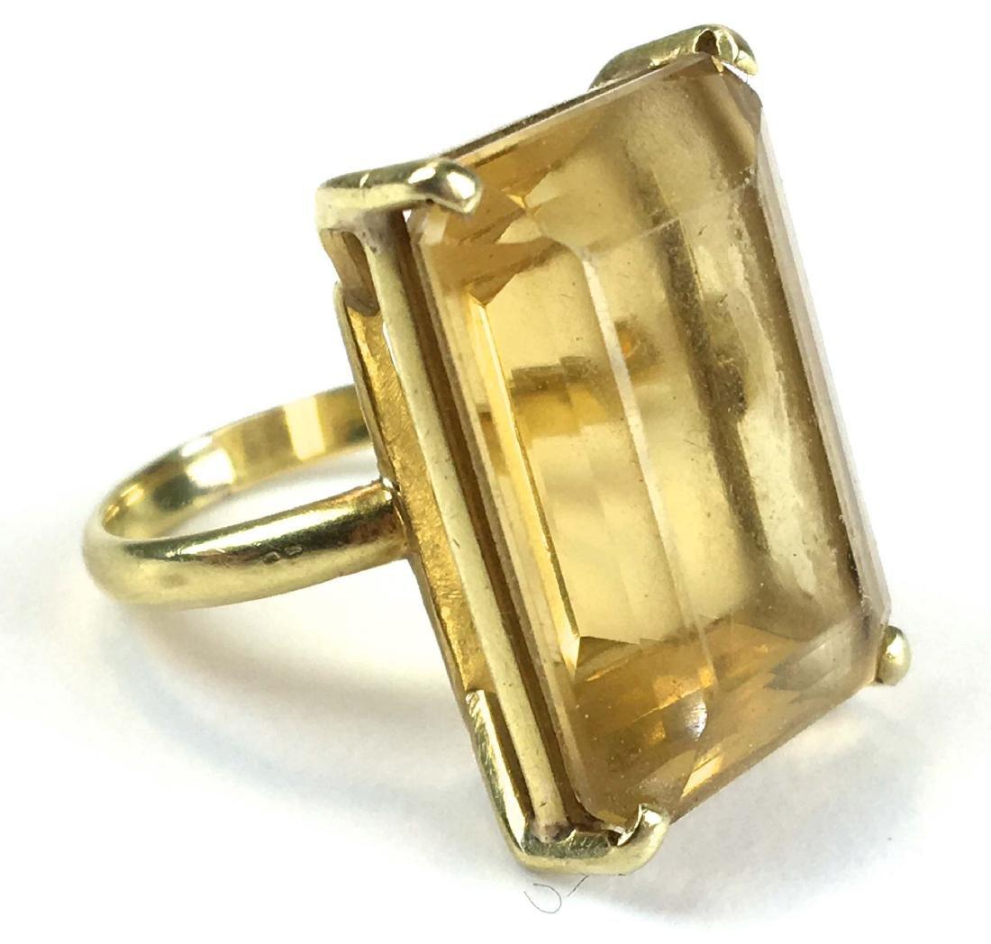 large citrine emerald cut 18 k y g ring