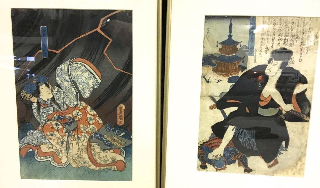 Two 18th c Japanese woodblock of Samurai & girl