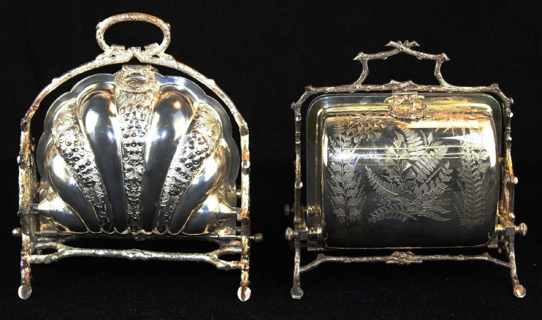 Two Victorian silver-plated bun or biscuit warmers