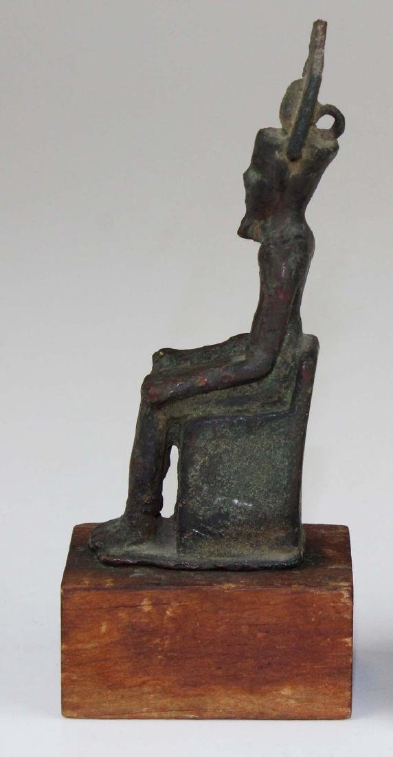Ancient Egyptian bronze seated figure of Horus