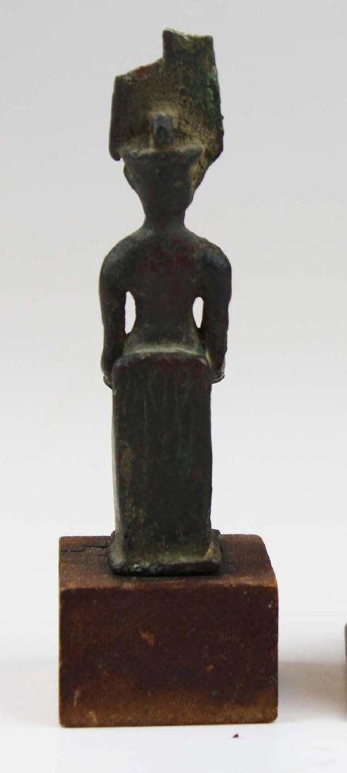 Ancient Egyptian bronze seated figure of Horus - 5