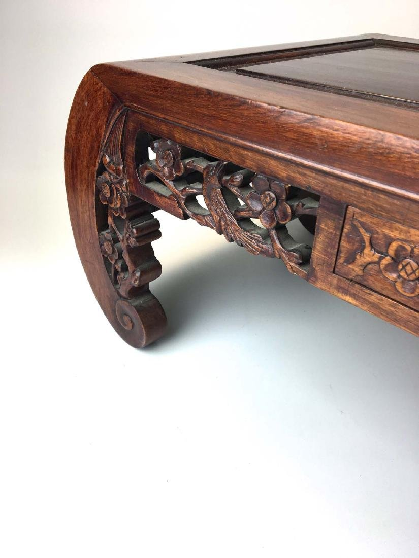 20th c Chinese mahogany carved two drawer low table - 2