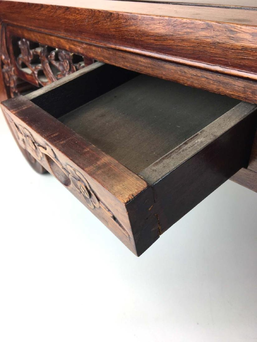 20th c Chinese mahogany carved two drawer low table - 3