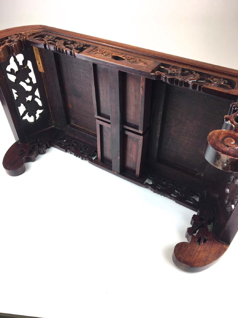 20th c Chinese mahogany carved two drawer low table - 4